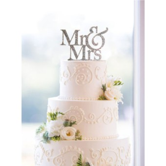 Mr&Mrs Romantic Silver Shiny Cake Topper Wedding Party Top Letter Decor - 2