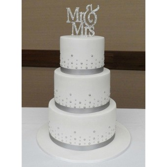 Mr&Mrs Romantic Silver Shiny Cake Topper Wedding Party Top Letter Decor - 3