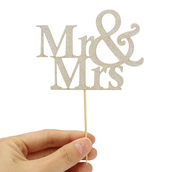 Mr&Mrs Romantic Silver Shiny Cake Topper Wedding Party Top Letter Decor - 4