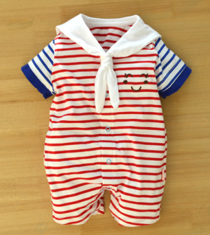Navy style summer short sleeved crawling clothes baby romper