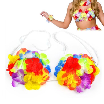 New Hawaiian Hula Set Flower Grass Dance Skirt Fancy Stag Hen Party Costume - 2