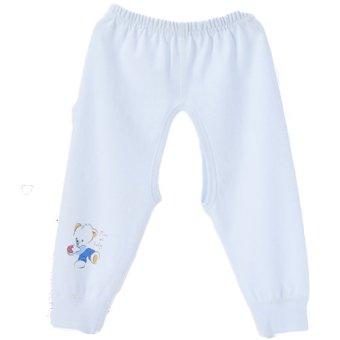 Newborn Babies Unisex Striped Open-Seat Cotton Bodysuit PantsL(Blue) (Intl)