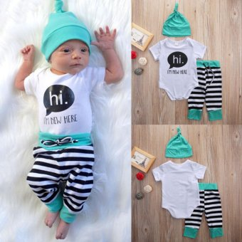 Newborn Baby Boys Girls Outfit Clothes Set 3Pcs - intl