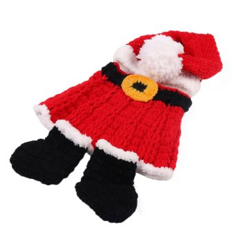 Newborn Baby Christmas Santa Knitted Crochet Costume Photo Photography Prop T024 - Intl - picture 2