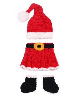 Newborn Baby Christmas Santa Knitted Crochet Costume Photo Photography Prop T024 - Intl