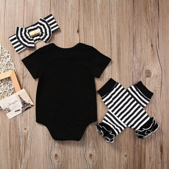 Newborn Baby Girl Romper Striped Headband Leg Warmer Clothes Outfit - intl - 2