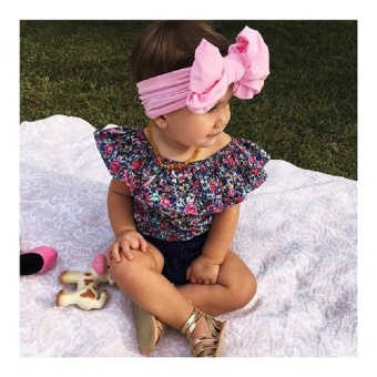 Newborn Kids Baby Girls Floral Off Shoulder Tops Shorts Outfits SetClothes 0-3T(18-24 months) - intl - 4