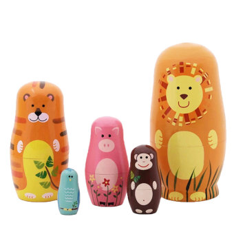 niceEshop 5pcs Wooden Nesting Doll Handmade Russian Matryoshka (Animal)