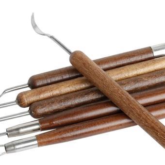 niceEshop 6pcs Carving Tools Wood Handle Clay Sculpting Tools Set Chisel Modeling Clay Tools - intl - 4
