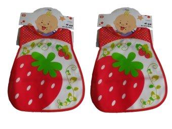 Ohana Waterproof Fruity-Pattern Bibs set of 2 (Strawberry)