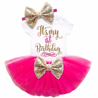 One year old baby girl birthday outfits lovely 3 pcs sets sequins bow headband rompers summer tulle mini dress - intl - 2