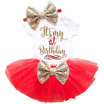 One year old baby girl birthday outfits lovely 3 pcs sets sequinsbow headband rompers summer tulle mini dress - intl