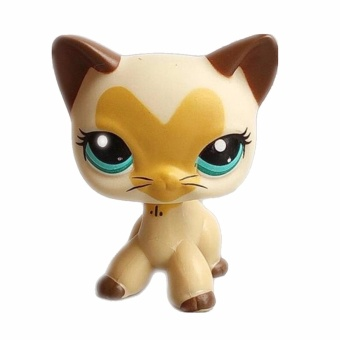 Pet shop Beige cat with heart pattern Doll Figure Child Toy Action figure girl's Collection classic animal pet LPS toys European
