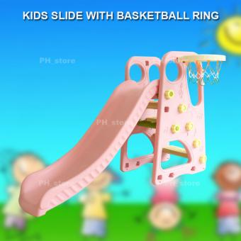 PH_STORE 2-in-1 Childrens Kids Indoor Outdoor Slide And BasketballSet (Pink) Price Philippines