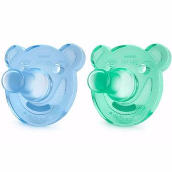 Philips Avent - Soothie Pacifier, Blue/Green, Bear Shape, 0-3Months, Pack of 2