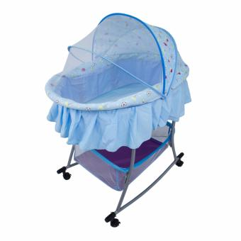 PHub WyonBaby Baby Cradle Bed Crib Rocker with Storage Basket BLUE - 3