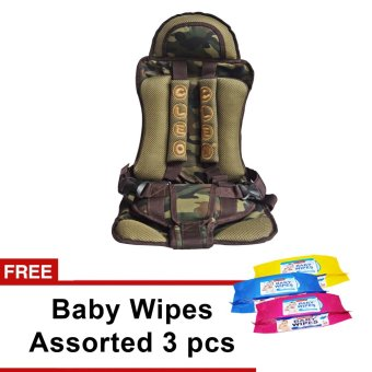 Portable Child Safety Car Seat (Army Color) with free 3pcs Baby Wipes Assorted Color