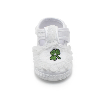 Pure White Newborn Baby Shoes Soft Sole Baptism Shoes & Christening Shoes Hook & Loop Baby Girls Shoes - Intl - 5