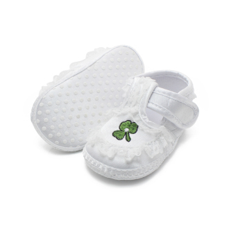 Pure White Newborn Baby Shoes Soft Sole Baptism Shoes & Christening Shoes Hook & Loop Baby Girls Shoes - Intl - 3