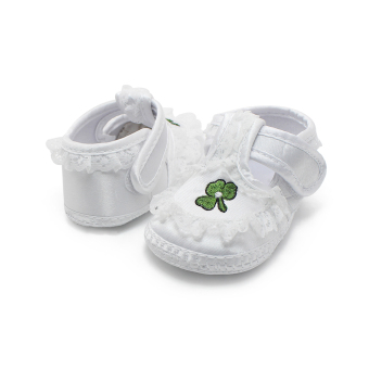 Pure White Newborn Baby Shoes Soft Sole Baptism Shoes & Christening Shoes Hook & Loop Baby Girls Shoes - Intl - 4