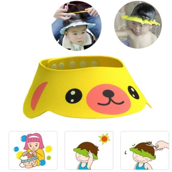 PVC Adjustable Soft Baby Shower Cap Baby Care Bath ProtectionChildren Hat Shower Cap Adjustable - intl