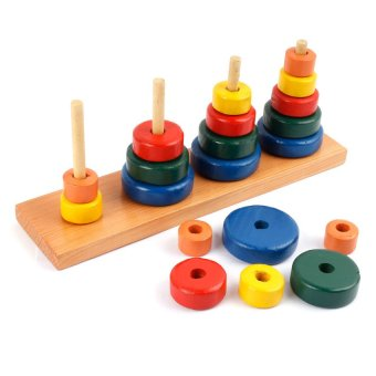 Rainbow Stacking Towers Wooden Toy (Multicolor) - picture 2