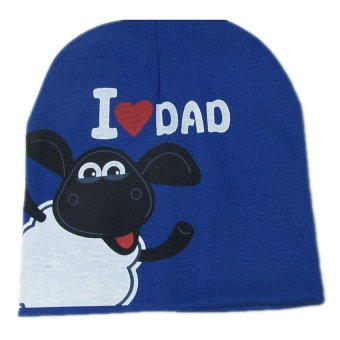 S & F Baby Hat Knitted Warm Cotton I LOVE DAD Pattern Blue (Intl)