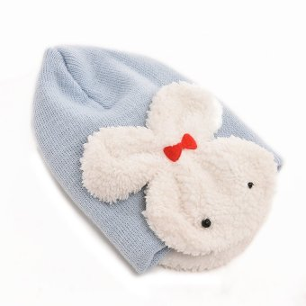 S & F Baby Rabbit Hats Toddler With Ear Flap Blue (Intl)