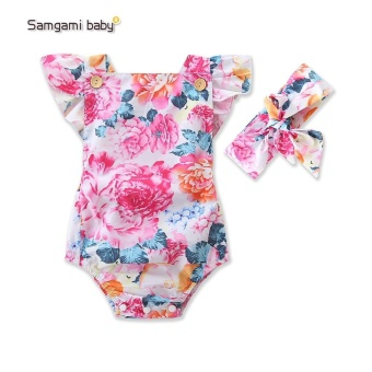 SAMGAMI BABY Summer Girl Sleeveless Rompers New Born Kids Clothing Rompers Cute Toddler Infant Clothes+Headband 2 Pcs - intl