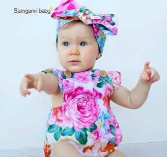 SAMGAMI BABY Summer Girl Sleeveless Rompers New Born Kids ClothingRompers Cute Toddler Infant Clothes+Headband 2 Pcs - intl - 3