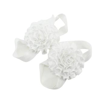 Sanwood Baby Girl Ribbon Flowers Barefoot Sandals Sock Toe Shoes 2Pcs White