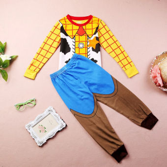 Sheriff Woody Costume Boys Sleepwear Baby Kids Cotton Pajamas 2pcsset 1~7Y - 2