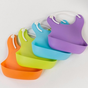 Silicone Baby Bibs Waterproof Eco Rubber Bib for toddlers - Purple - 3