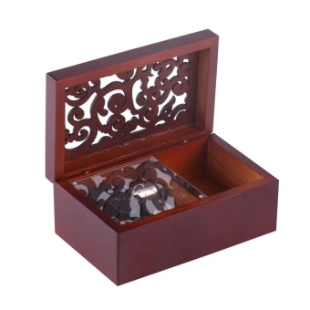 Solid Wood Miniature 18 Note Wind Up Music Box Jewelry Case (Silver Movement/Edelweiss) - intl - 3