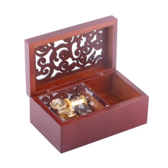 Solid Wood Miniature Hollow 18 Note Wind Up Music Box Jewelry Case(Gold Movement/Swan Lake) - intl