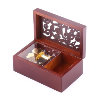 Solid Wood Miniature Hollow 18 Note Wind Up Music Box JewelryCase(Gold Movement/For Alice) - intl