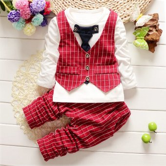 Spring Autumn Baby Boys Outfits Clothing Sets Children Tie Vest T-shirt Suit Fancy Kids Christmas Gelentment Clothes Set (Red) - intl