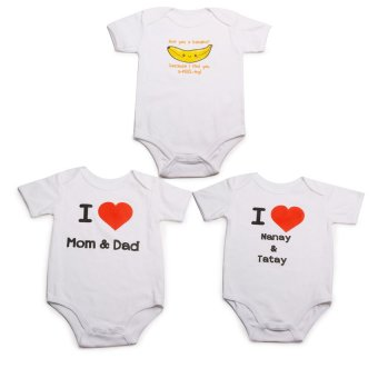 Stache Romper Set of 3 (White)