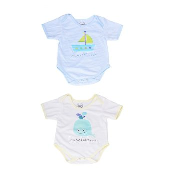 Stache Sailboat Bundle with Whaley Cute Onesie Romper (Blue/White)