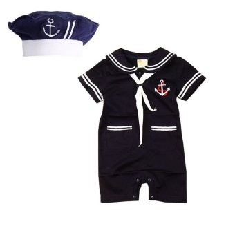 Summer Baby Rompers Infants Sailor Style Boys Short Sleeve JumpsuitBaby Costume Navy with Hat
