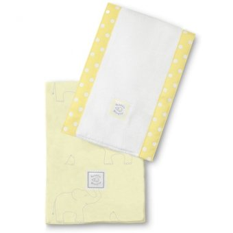Swaddle Designs Elephant Baby Burpies Set of 2 (Yellow)