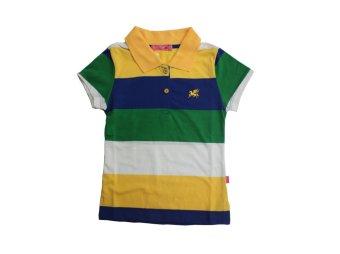 Teen's Short Sleeves Basic Collared shirt for Girls #QORY Stripe - C (Yellow)