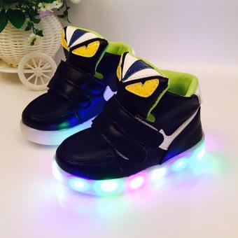 The boys and girls High top Monster shoes LED lighting light sportshoes children baby shoes - intl Price Philippines