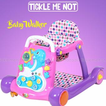 Tickle 6080 Multi functional Baby Child Folding Push Walker Anti-rollover (Pink/Violet)