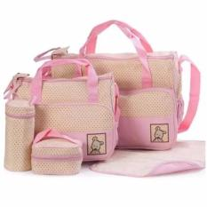tickle tmn 125 5in1 baby diaper tote handbag set pink - Baby Diaper Bags