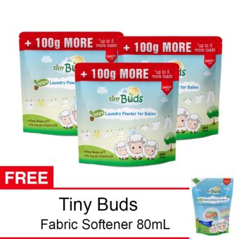 Tiny Buds Natural Baby Laundry Powder 500G Set of 3 With Free BabyFabric Softener Travel Pack