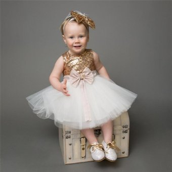 Toddler Baby Girls Sequins Princess Dress Bowknot Party WeddingGown Formal Bridesmaid Dresses - intl