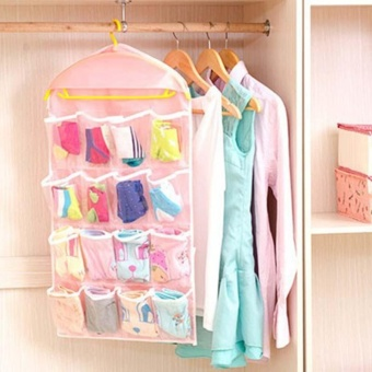 Transparent Polyester Fabric Hanging Bag with 4 Layers 16 StoragePockets Underwear Socks Storage Bags Organizer - intl - 4