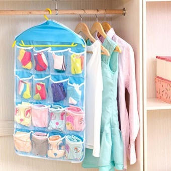 Transparent Polyester Fabric Hanging Bag with 4 Layers 16 StoragePockets Underwear Socks Storage Bags Organizer - intl - 2