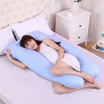 U Shape Printing Pillow Case for Gestational Pregnant Women Maternity Blue - intl